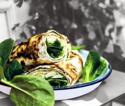 BioGourmet Rezept Spinat-Frischkäse-Wraps