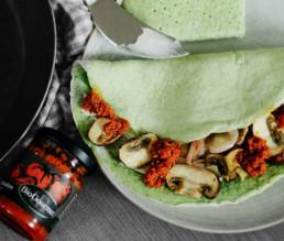 BioGourmet Rezept Brokkoli-Pfannkuchen mit Champignons